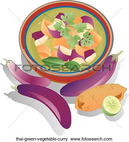 Stock Illustration of Thai Green Vegetable Curry thai.