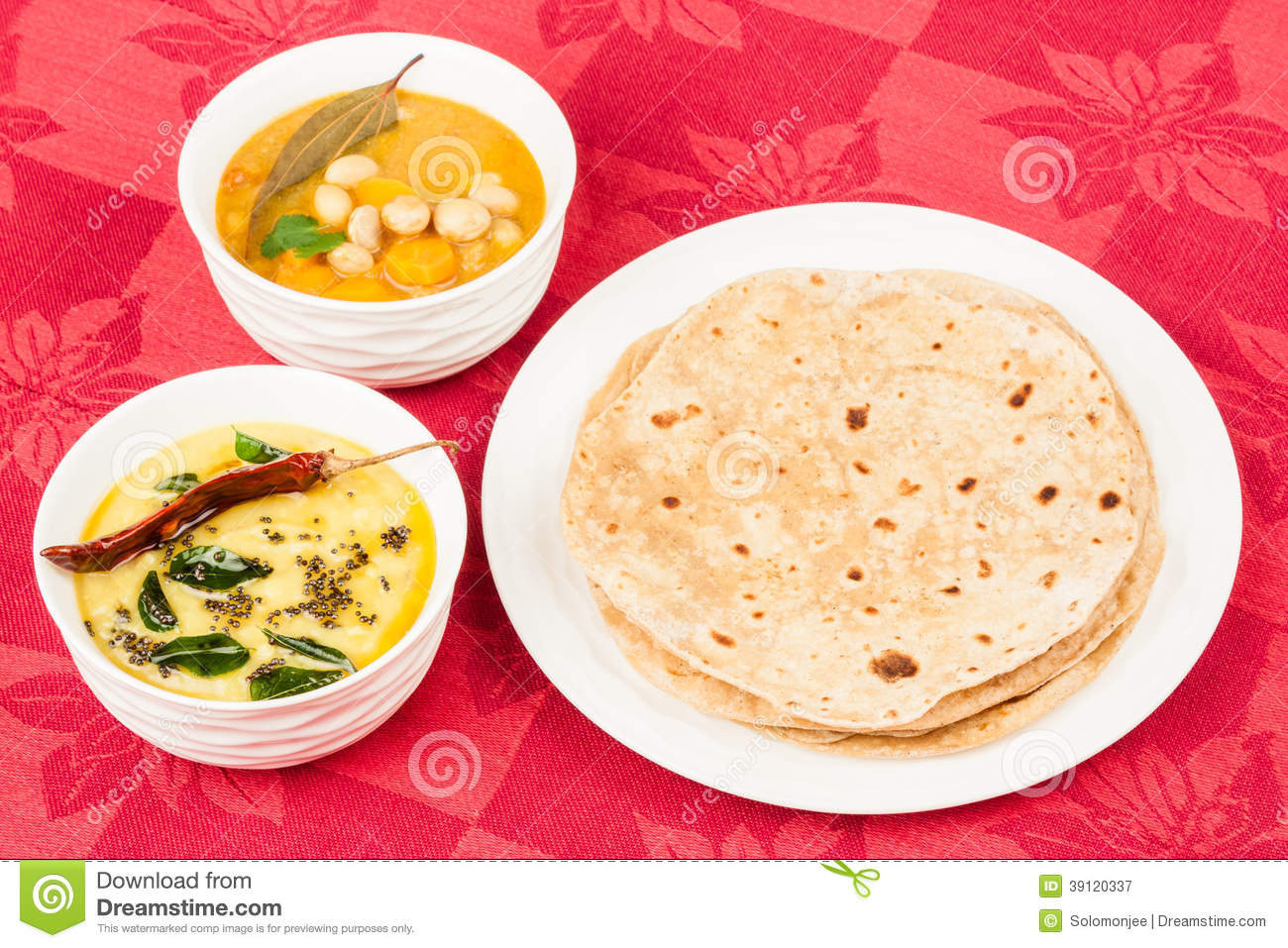 Chapatis And Vegetable Curry Stock Photos.