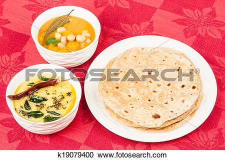Stock Photography of Chapati with Dal, Vegetable Curry k19079400.