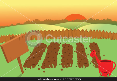 Vegetable Garden Scene Clipart.