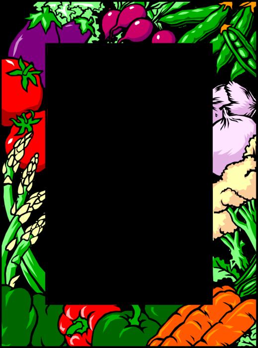 Vector Illustration Of Fresh Vegetables Border With.