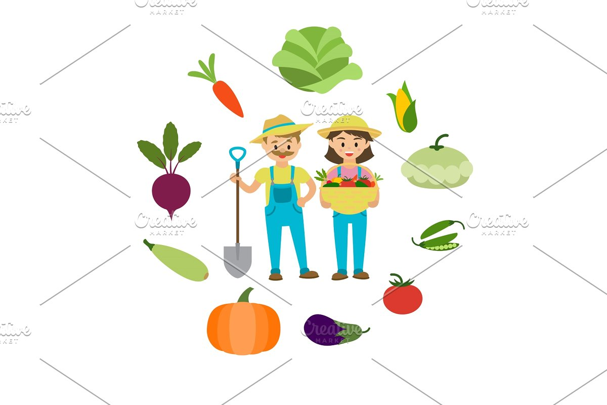 Farm vegetables and farmers family.