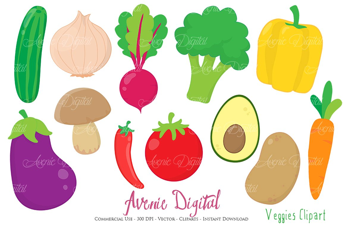 Vegetables Clipart + Vectors ~ Illustrations on Creative Market.