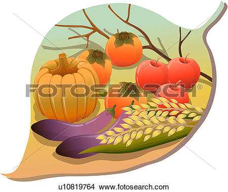 Drawings of cereals, fall, crop, nature, fruits, vegetables.