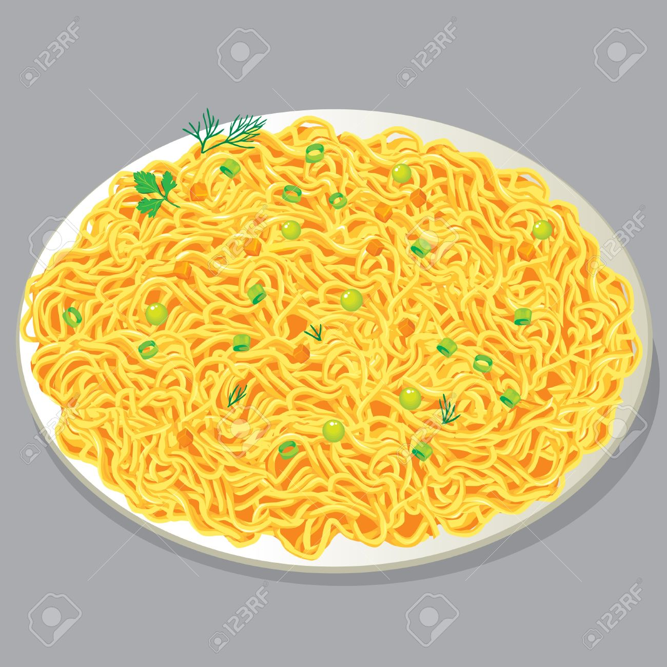 Plate Of Pasta With Vegetables Royalty Free Cliparts, Vectors, And.