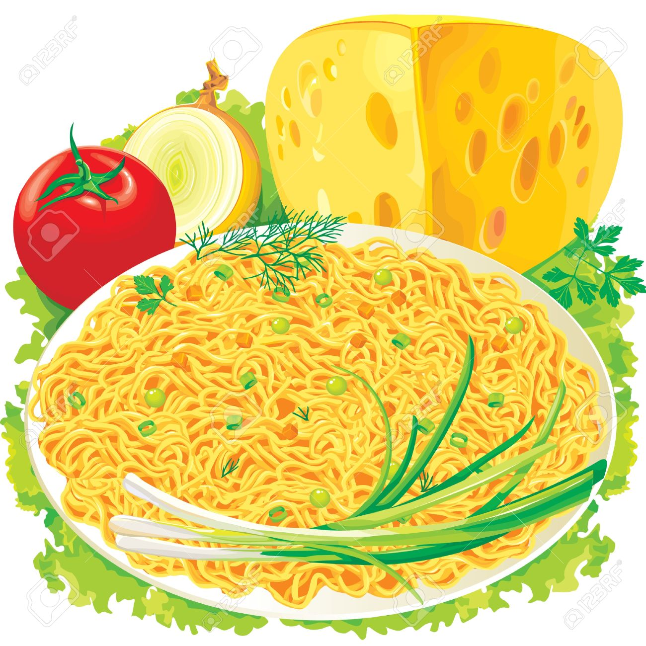 Plate Of Spaghetti With Vegetables Royalty Free Cliparts, Vectors.