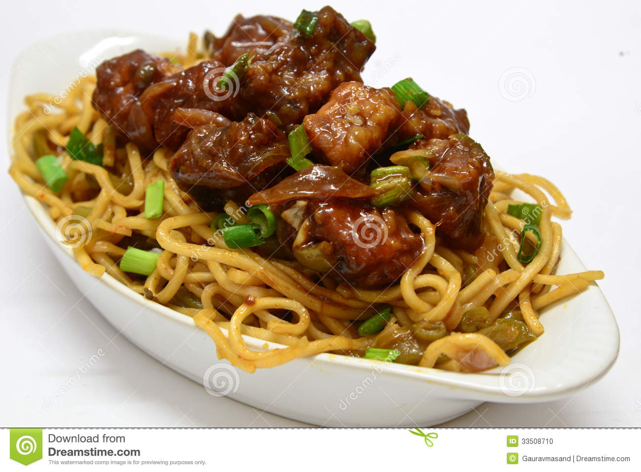 Veg Noodles With Chilly Paneer Stock Photo.