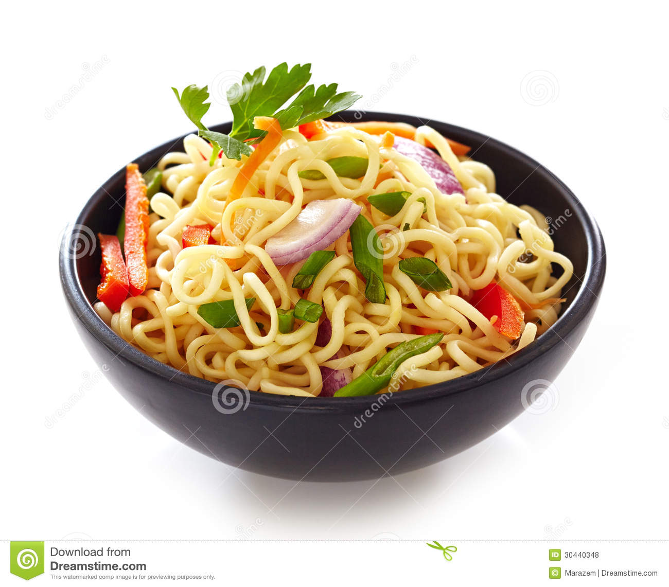 Bowl Of Chinese Noodles With Vegetables Royalty Free Stock Photos.