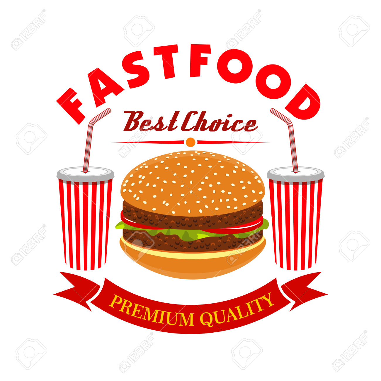 Cheeseburger And Soda Drink For Fast Food Menu. Vector Burger.