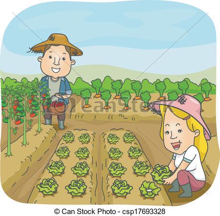 Vector Clip Art of Vegetable Garden.