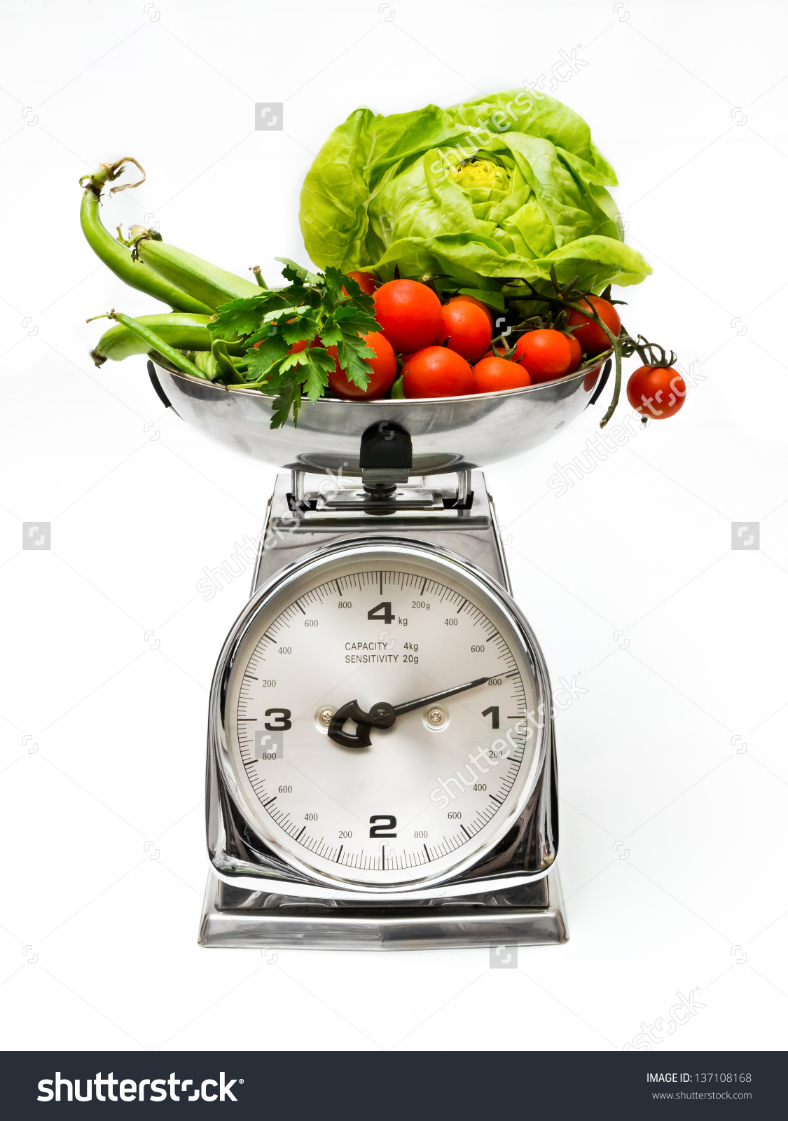 Vegetables On Weight Scale Stock Photo 137108168.