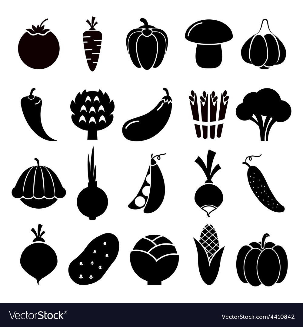 Vegetables silhouettes icons.