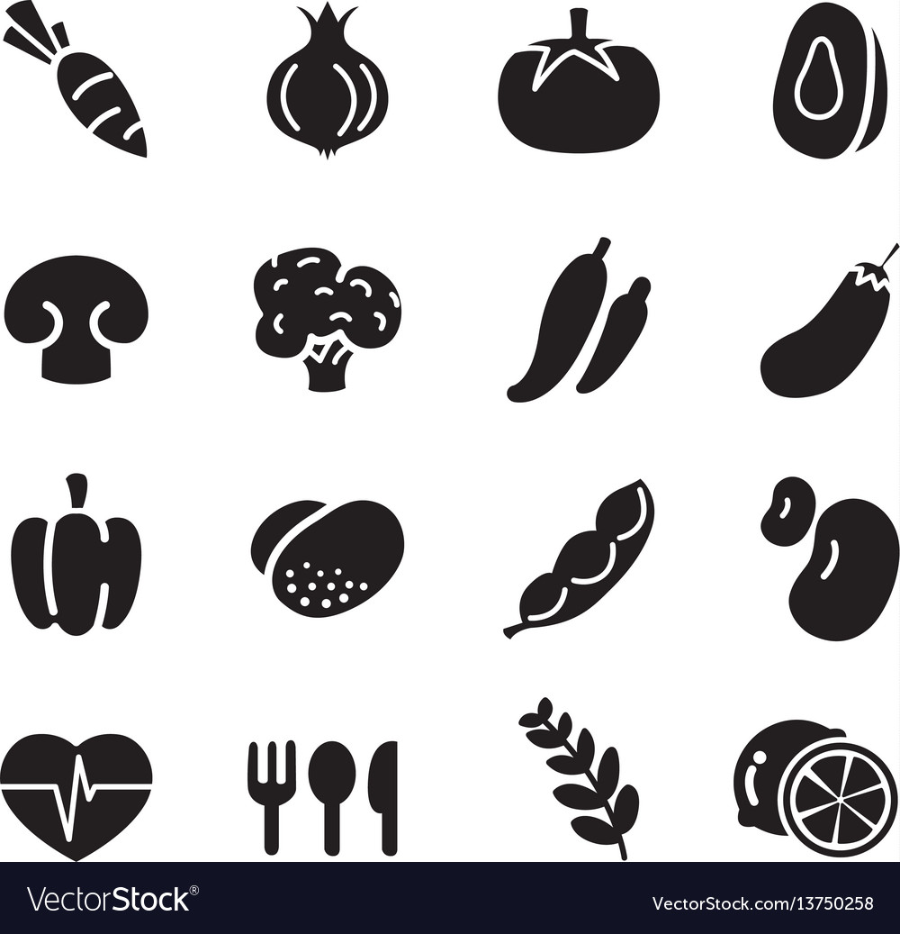 Silhouette vegetable icons.