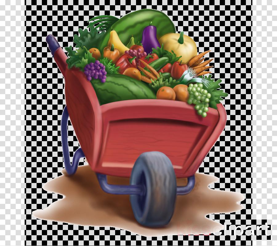 wheelbarrow vegetable vehicle cart natural foods clipart.