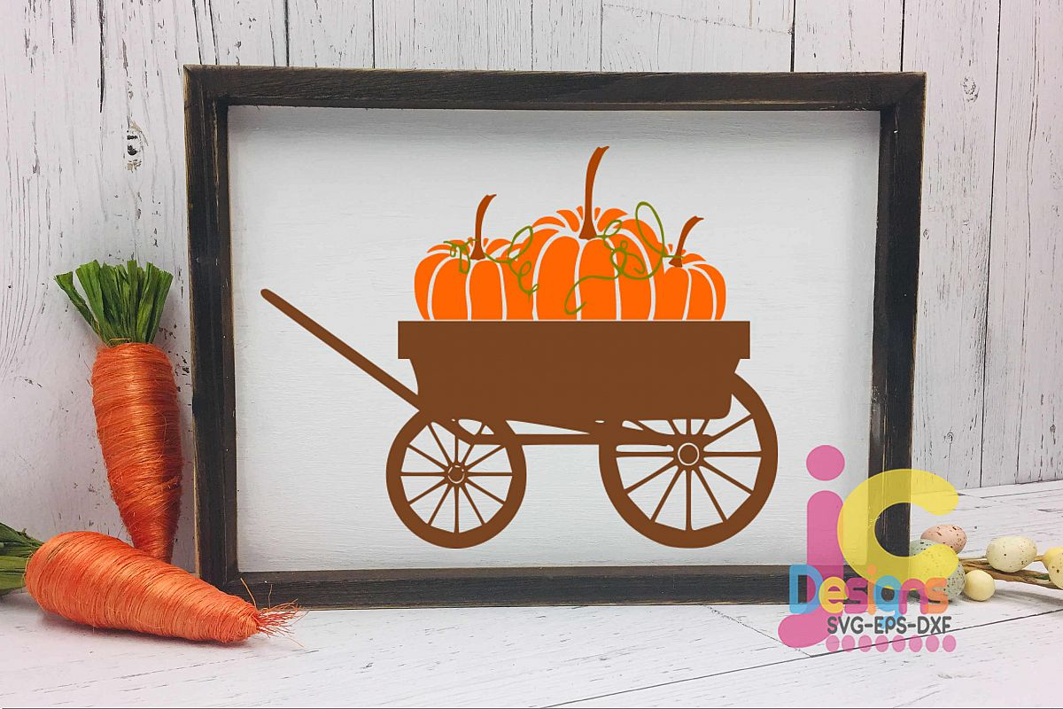 Pumpkin wagon svg Fall Autumn Thanksgiving Cut File clipart.