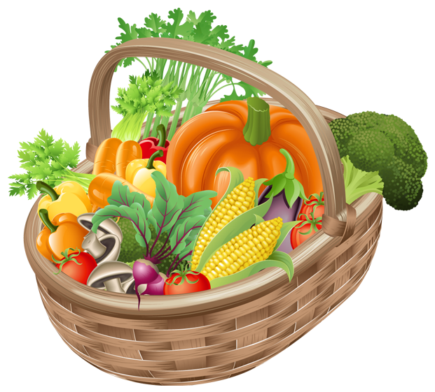 Basket with Vegetables PNG Picture Clipart.