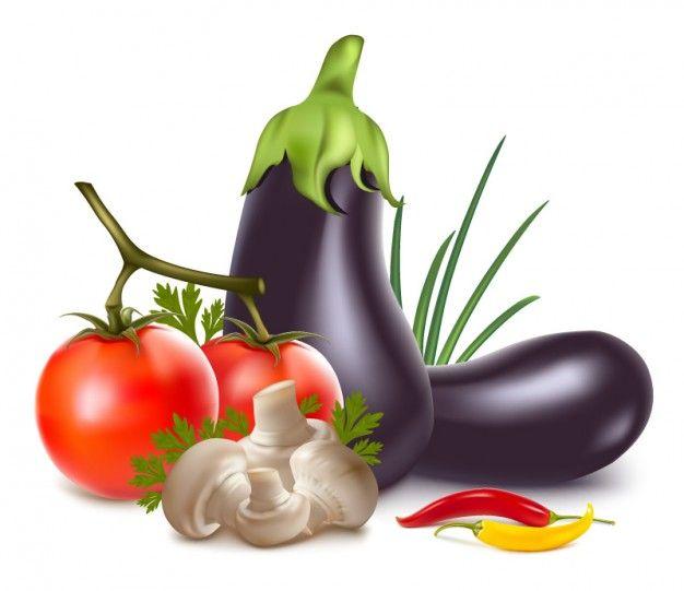 Realistic vegetables arrangement icon vector.