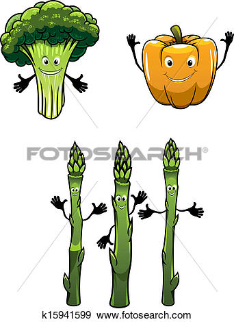 Clip Art of Broccoli, spinach and pepper vegetables k15941599.
