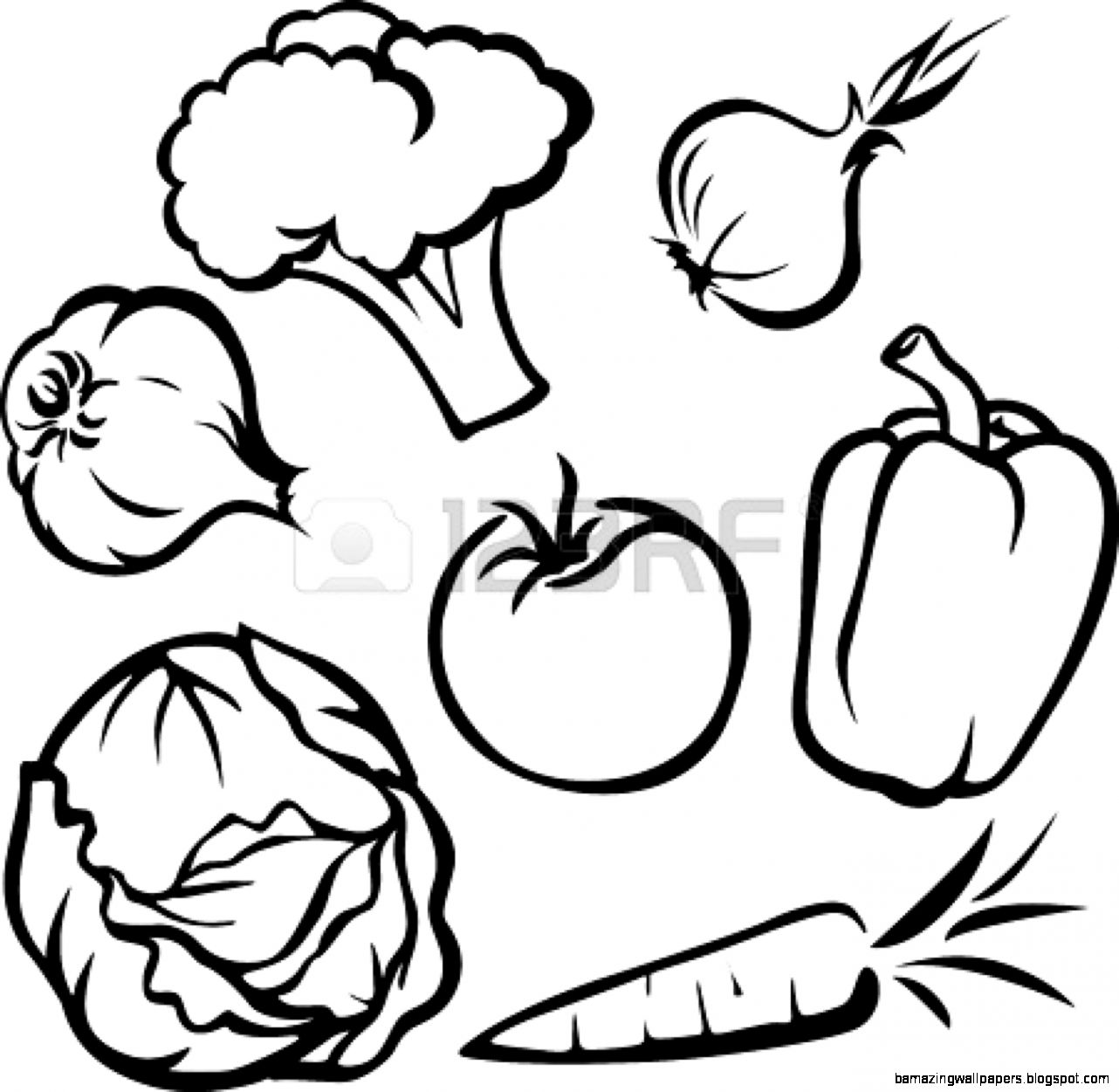 Coloring Fruits And Vegetables Clipart Black And White.