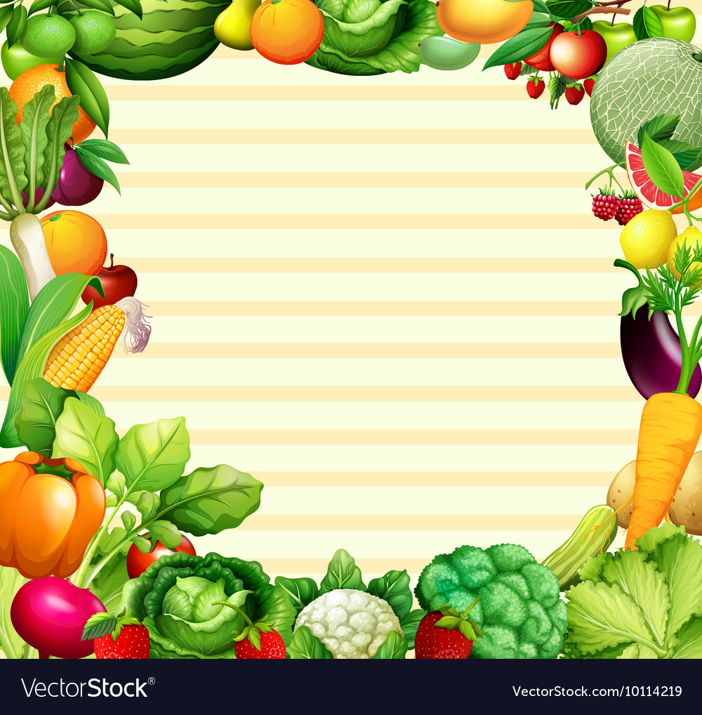 Frame design with vegetables and fruits.