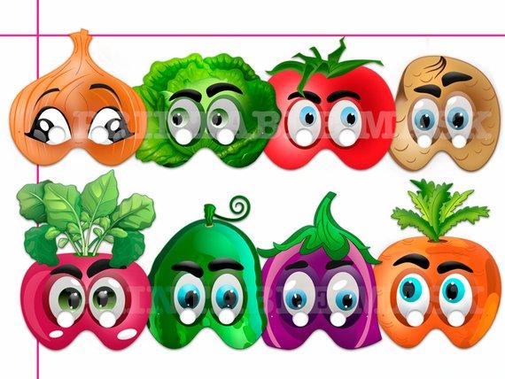 Unique Vegetables Printable Masks, costumes, paper masks.