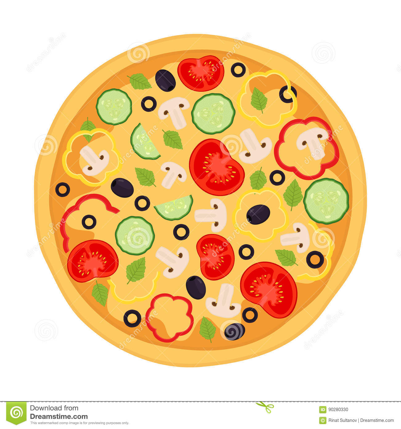 Vegetarian Pizza Clipart.