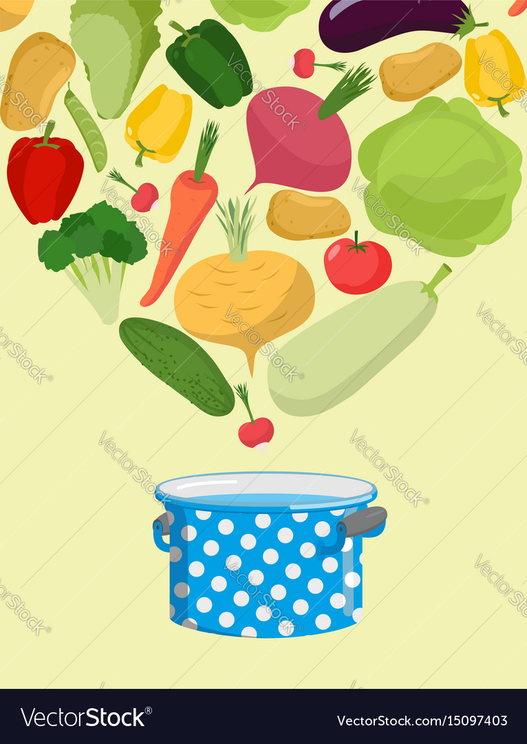 Vegetables in saucepan boil vegetable soup.
