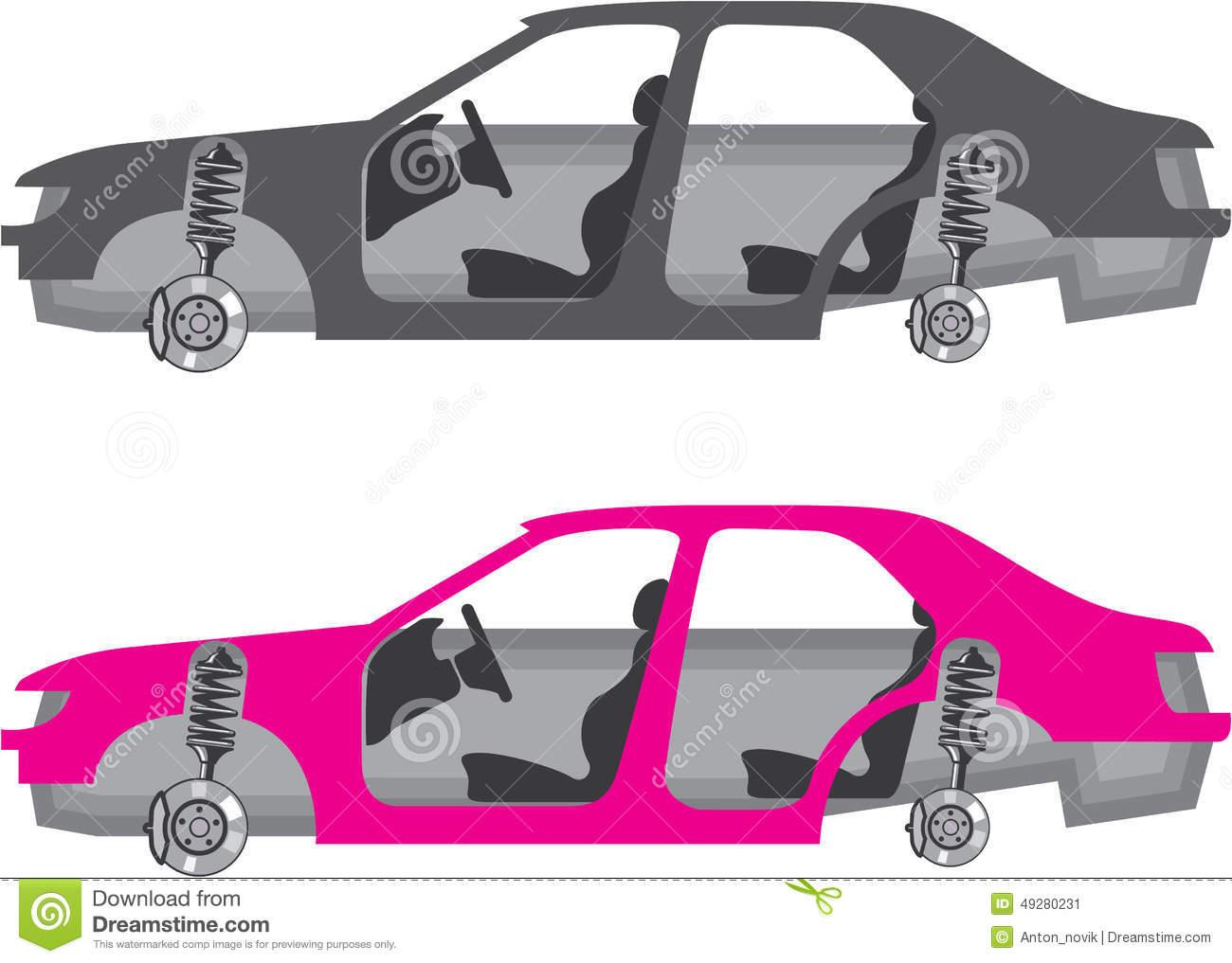 Car With Wheels Off Doors Off Auto Body Stock Vector.