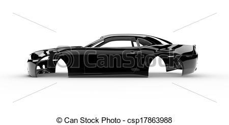 Stock Illustration of Black body car with no wheel, engine.