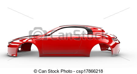 Clipart of Red body car with no wheel, engine,interior csp17866218.