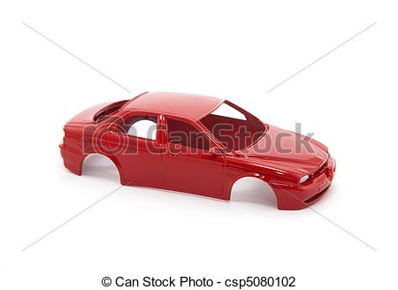 Stock Photo of Red toy car body on white background csp5080102.