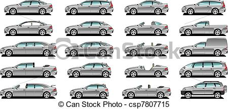 Clipart Vector of Car body style..
