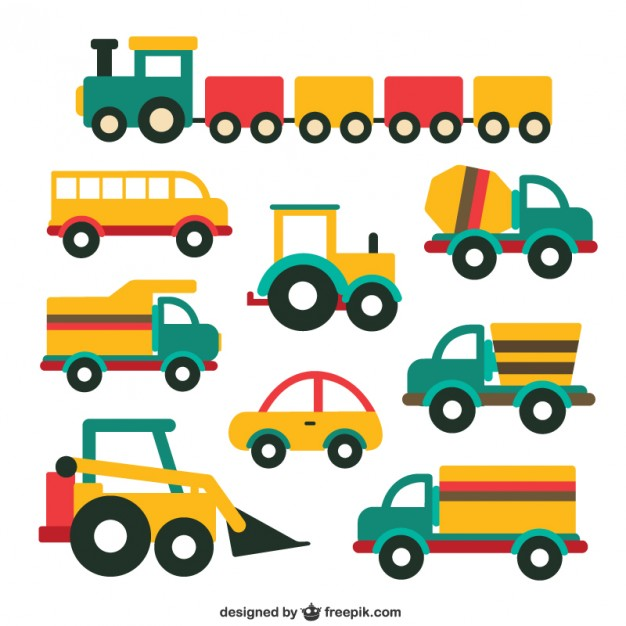 Cute vehicle collection Vector.