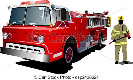 Vector Clip Art of Fire engine and fireman isolated on background.
