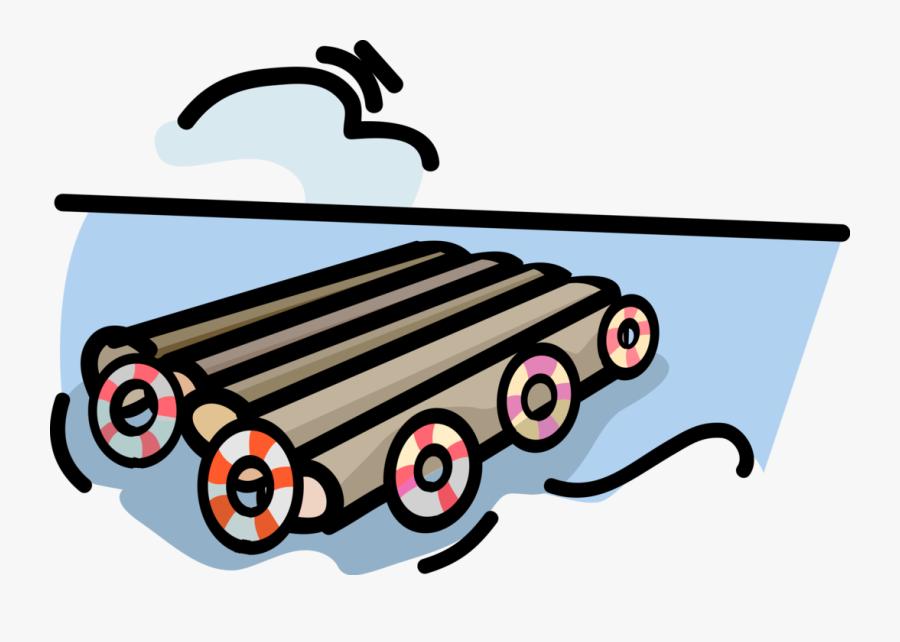 Vector Illustration Of Floating Log Raft Platform In , Free.
