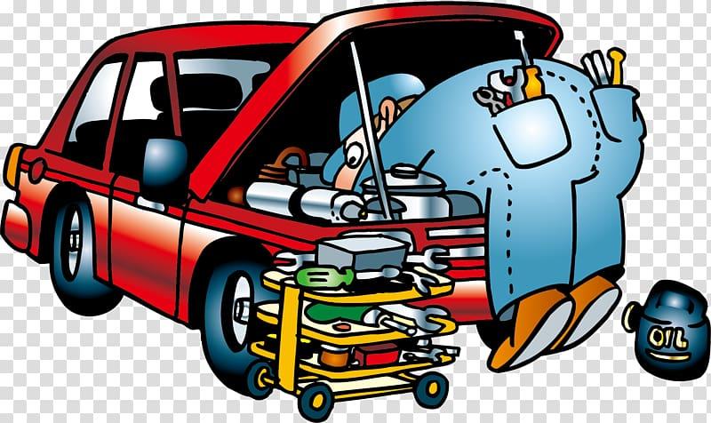 Mechanic and red car , Car repair people transparent.