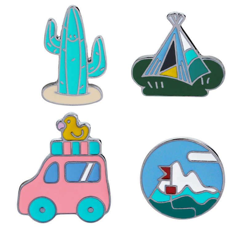 Cartoon enamel brooch creative plant cactus mountain peak tent car alloy  brooch fashion denim Shirt collar pin badge jewelry.