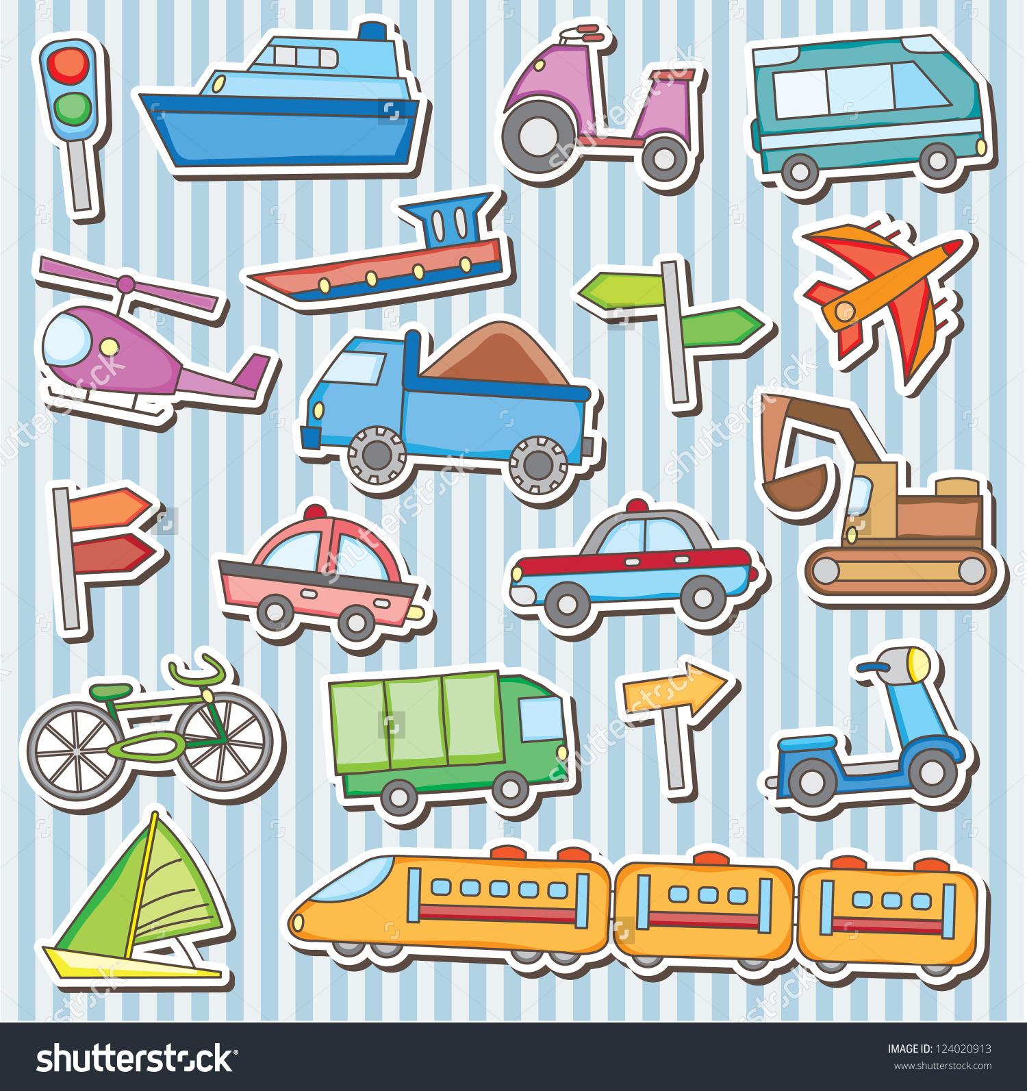 Cute Vehicles Clip Art Stock Vector 124020913.