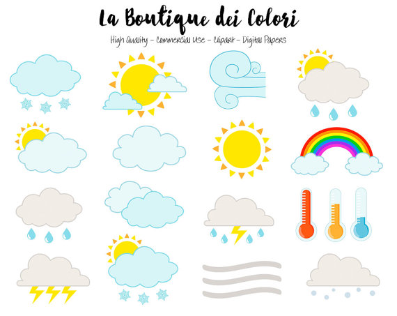 Weather Clipart Cute Graphics PNG Sun Clouds Wind Fog.