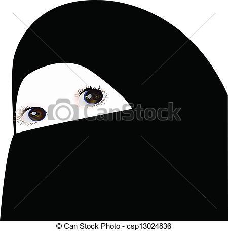 Vectors of little girl looking under veil, vector csp13024836.