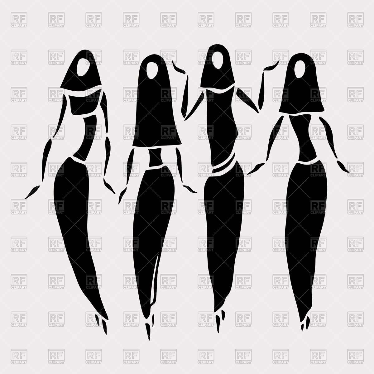 Silhouettes of east women in veiled Vector Image #78110.
