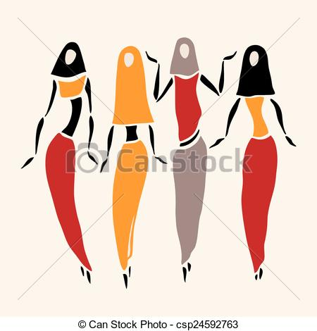 Clip Art Vector of East women in veiled. Beautiful silhouette.