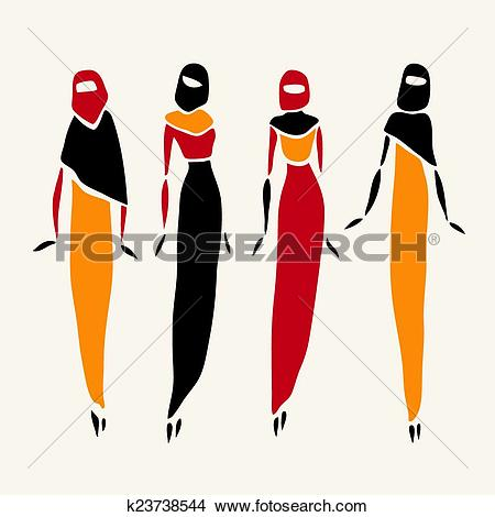 Clipart of East women in veiled. k23738544.