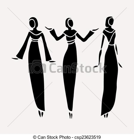Vector Clip Art of East women in veiled. Beautiful silhouette.