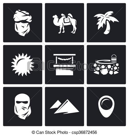 Clipart Vector of Vector Set of Middle East Icons. Arab, Camel.