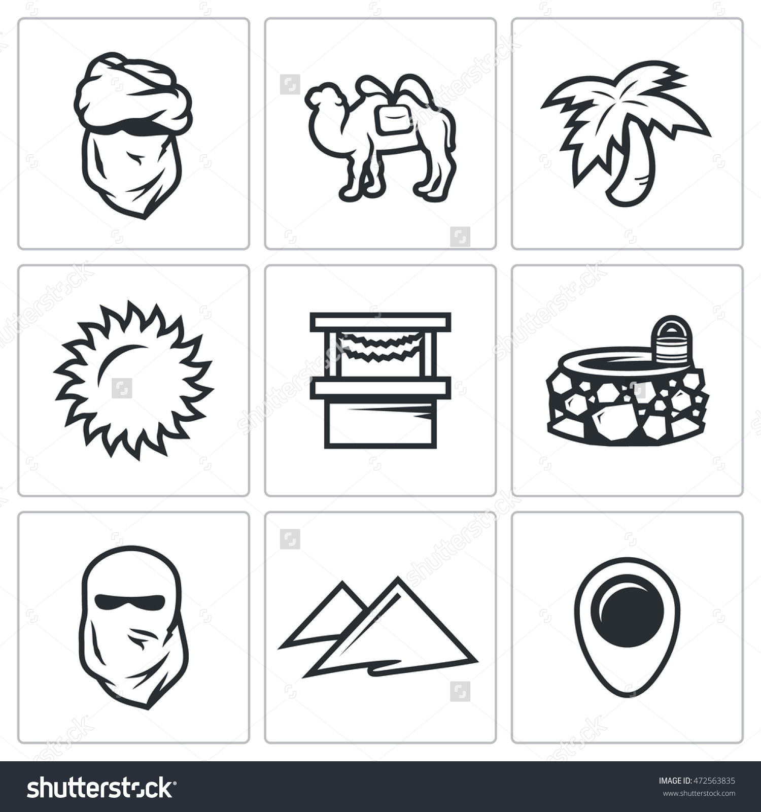 Vector Set Of Middle East Icons. Arab, Camel, Palm, Sun, Market.