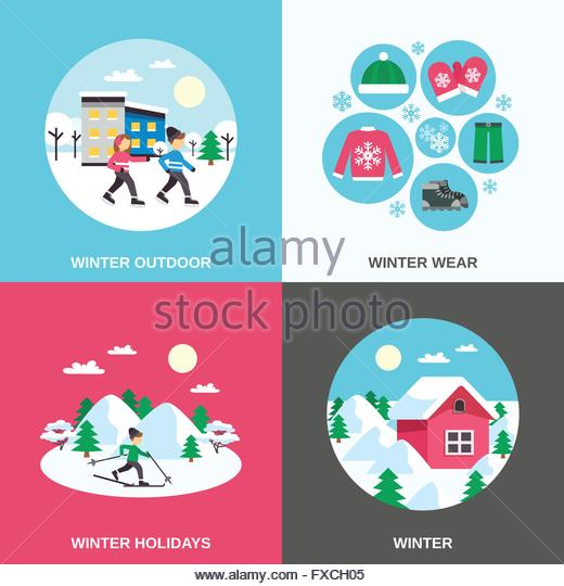 Snow Forest Ski Stock Vector Images.