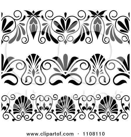 Clipart of Ornate Black and White Border Designs.
