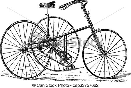 Clip Art Vector of Velocipede, tricycle, vintage engraving.