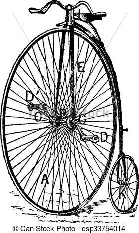 Vector Clip Art of Velocipede, ordinary bicycle, vintage engraving.